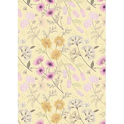 Garden Floral on Pale Yellow