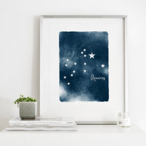 Aquarius Star Map- Instant Download Wall Art Print
