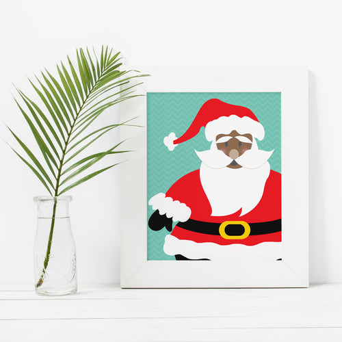 Black Santa Claus- Instant Download Christmas Wall Art Print