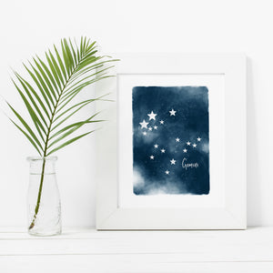Gemini Star Map- Instant Download Wall Art Print