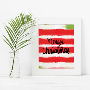 Merry Christmas Stripes- Instant Download Christmas Wall Art