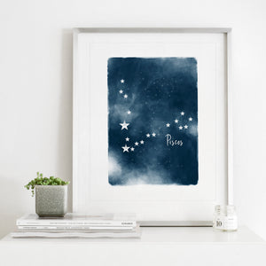 Pisces Star Map- Instant Download Wall Art Print