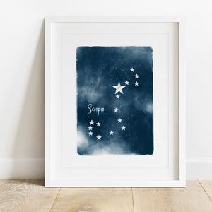 Scorpio Star Map- Instant Download Wall Art Print