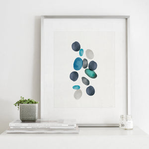 Beach Stones 2- Digital Download Watercolor Wall Art