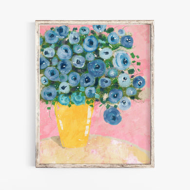 Blue Flowers- Digital Printable Wall Art