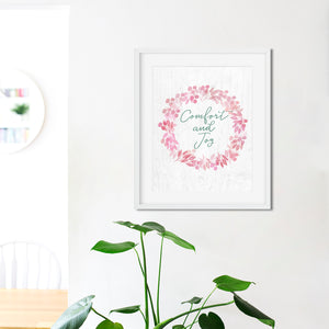 Comfort and Joy Wreath- Instant Download Christmas Wall Art