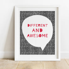 Load image into Gallery viewer, Different And Awesome- Instant Download Inspirational Wall Art Print