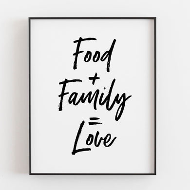 Food Family Love- Printable Art