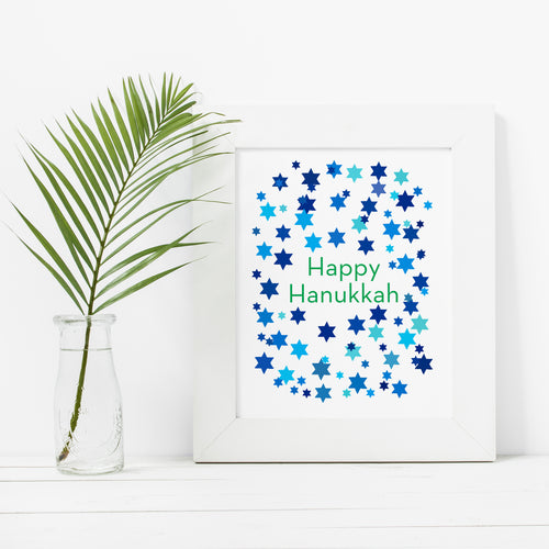 Happy Hanukkah Stars- Instant Download Wall Art Print