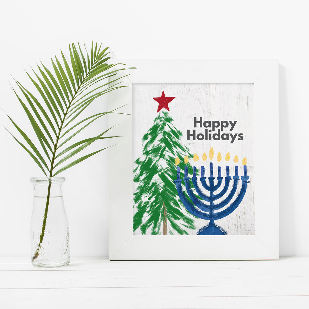 Happy Holidays Christmas and Hanukkah- Instant Download Holiday Wall Art
