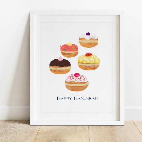 Hanukkah Jelly Donuts- Instant Download Art Print