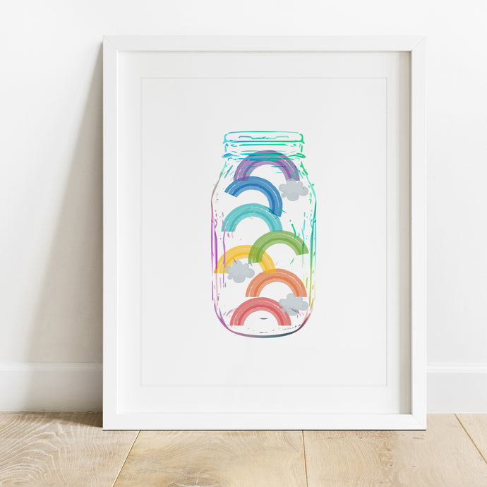 Jar Of Rainbows- Instant Download Wall Art Print