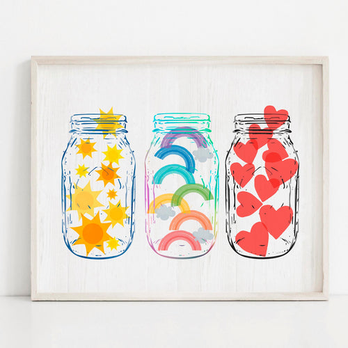 Happiness Jars- Instant Download Wall Art Print
