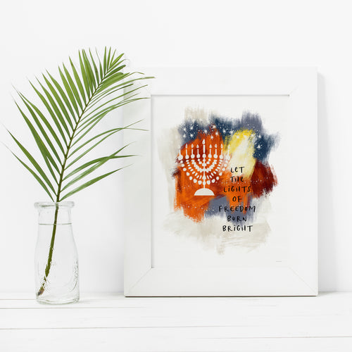Lights Of Freedom- Instant Download Hanukkah Wall Art