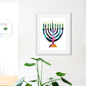 Menorah Of Many Colors- Instant Download Wall Art Print