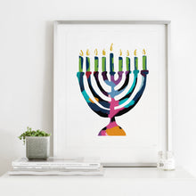 Load image into Gallery viewer, Menorah Of Many Colors- Instant Download Wall Art Print
