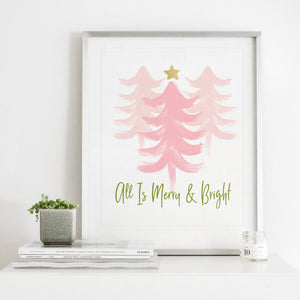 Merry and Bright Pink Trees- Instant download holiday wall art