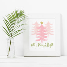 Load image into Gallery viewer, Merry and Bright Pink Trees- Instant download holiday wall art