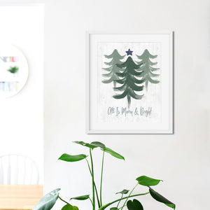 Merry and Bright Sage- Instant Download Christmas Wall Art