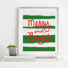 Load image into Gallery viewer, Merry and Bright Stripes- Instant Download Christmas Wall Art