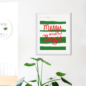 Merry and Bright Stripes- Instant Download Christmas Wall Art