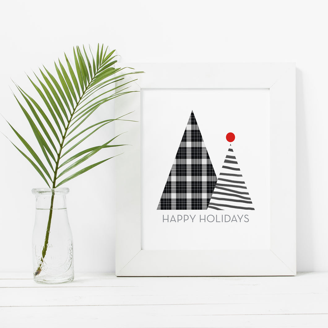 Modern Black and White Happy Holidays Trees- Instant Download Wall Art