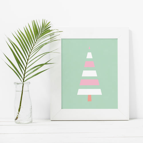 Modern Scandinavian Style Pastel Christmas Tree- Instant Download Wall Art
