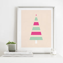 Load image into Gallery viewer, Minimal Modern Striped Christmas Tree- Instant Download Wall Art