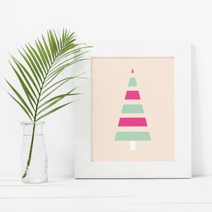 Minimal Modern Striped Christmas Tree- Instant Download Wall Art