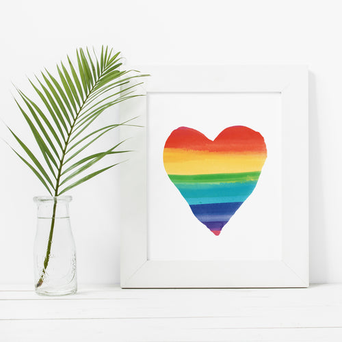 Rainbow Heart- Instant Download Wall Art Print
