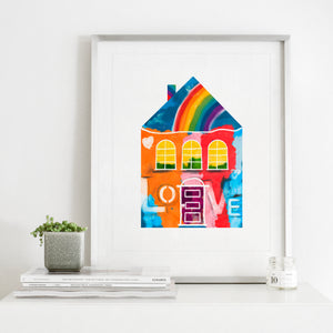 Rainbows and Love House- Instant Download Wall Art