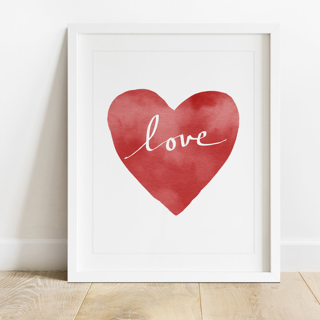 Red Heart Love- Instant Download Wall Art Print