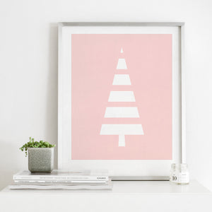 Modern Pink and White Scandinavian Style Tree- Instant Download Wall Art
