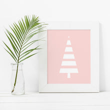 Load image into Gallery viewer, Modern Pink and White Scandinavian Style Tree- Instant Download Wall Art