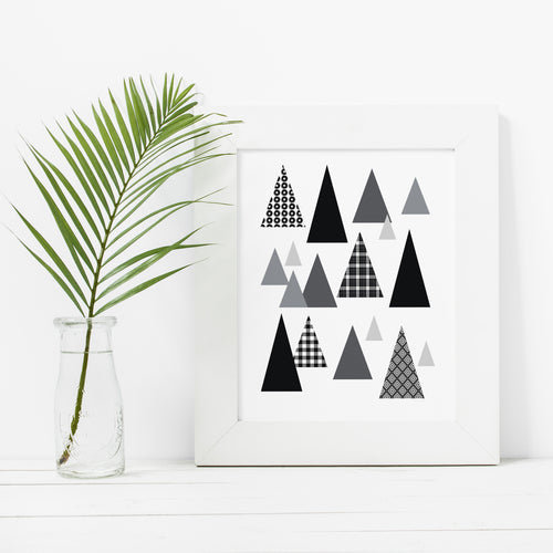 Minimal Modern Black and White Trees- Instant Download Wall Art