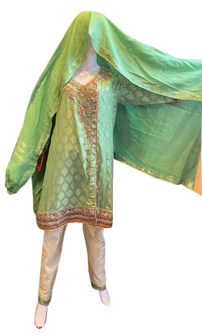 Sea Green Jamawar Along With Gota And Sequence Work
