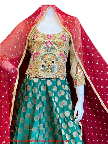 Trio Colour Banaras Lehnga With Embroidery