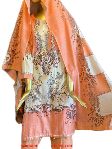 Summer Muslim Orange Female Dress 3Pcs Set
