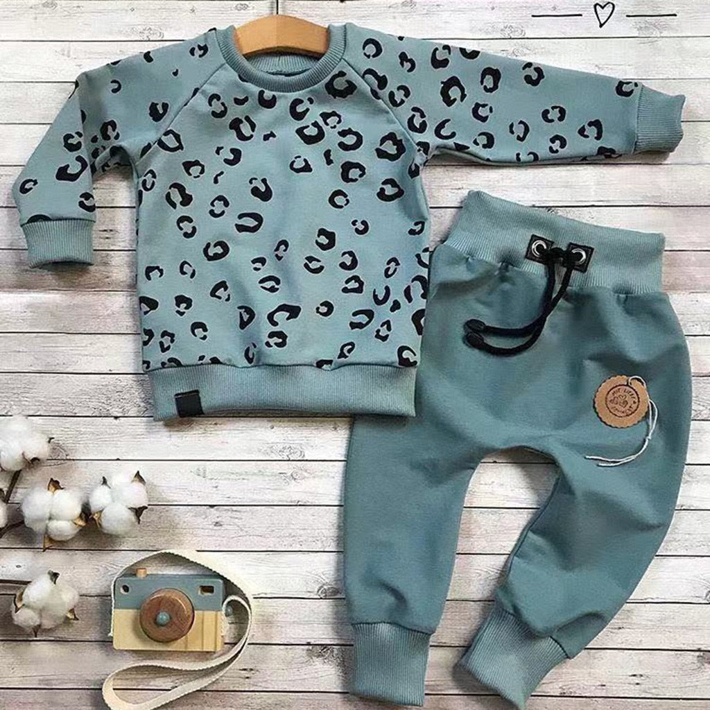 Infant Baby Girls Boys Leopard Clothes Long Sleeve Print Casual Loose T-shirt Tops Pants Outfits Clothing For Girls Sets Autumn