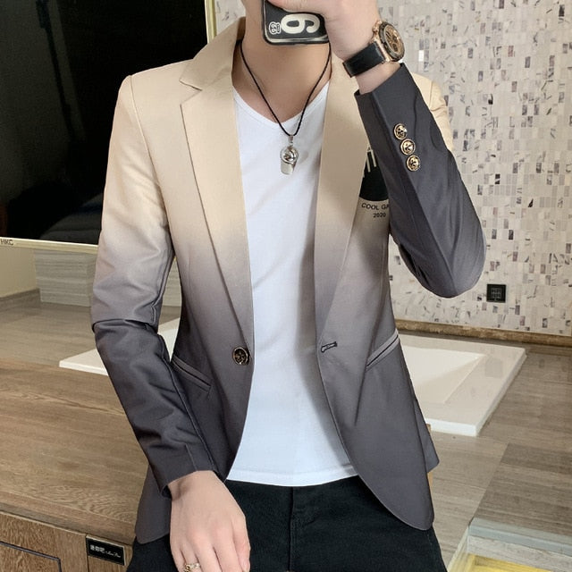 Male Gradient Blazer Masculino 2020 Spring Autumn Korean Style Blazer For Men Suit Jacket Casual Wedding Business Clothing