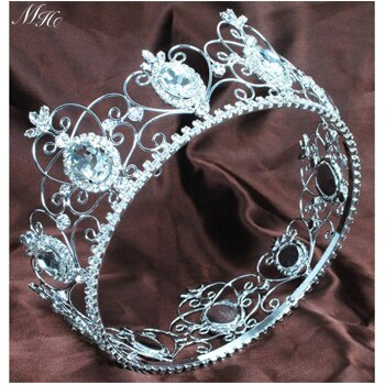 "3.5"" Queen King Bride Crystal Rhinestones Tiaras and Crowns Handmade Pageant Prom Bridal Wedding Hair Accessories Jewelry"