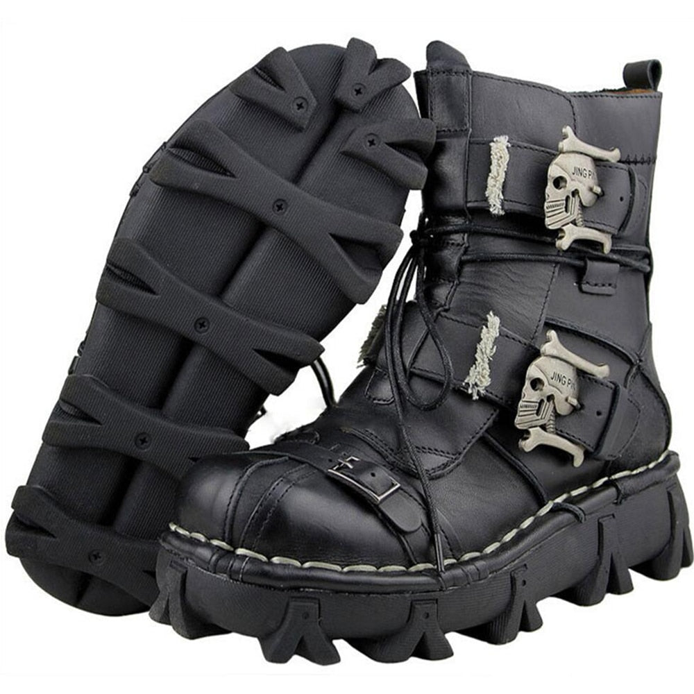 Men's Cowhide Genuine Leather Motorcycle Boots Military Combat Boots Gothic Skull Punk Boots