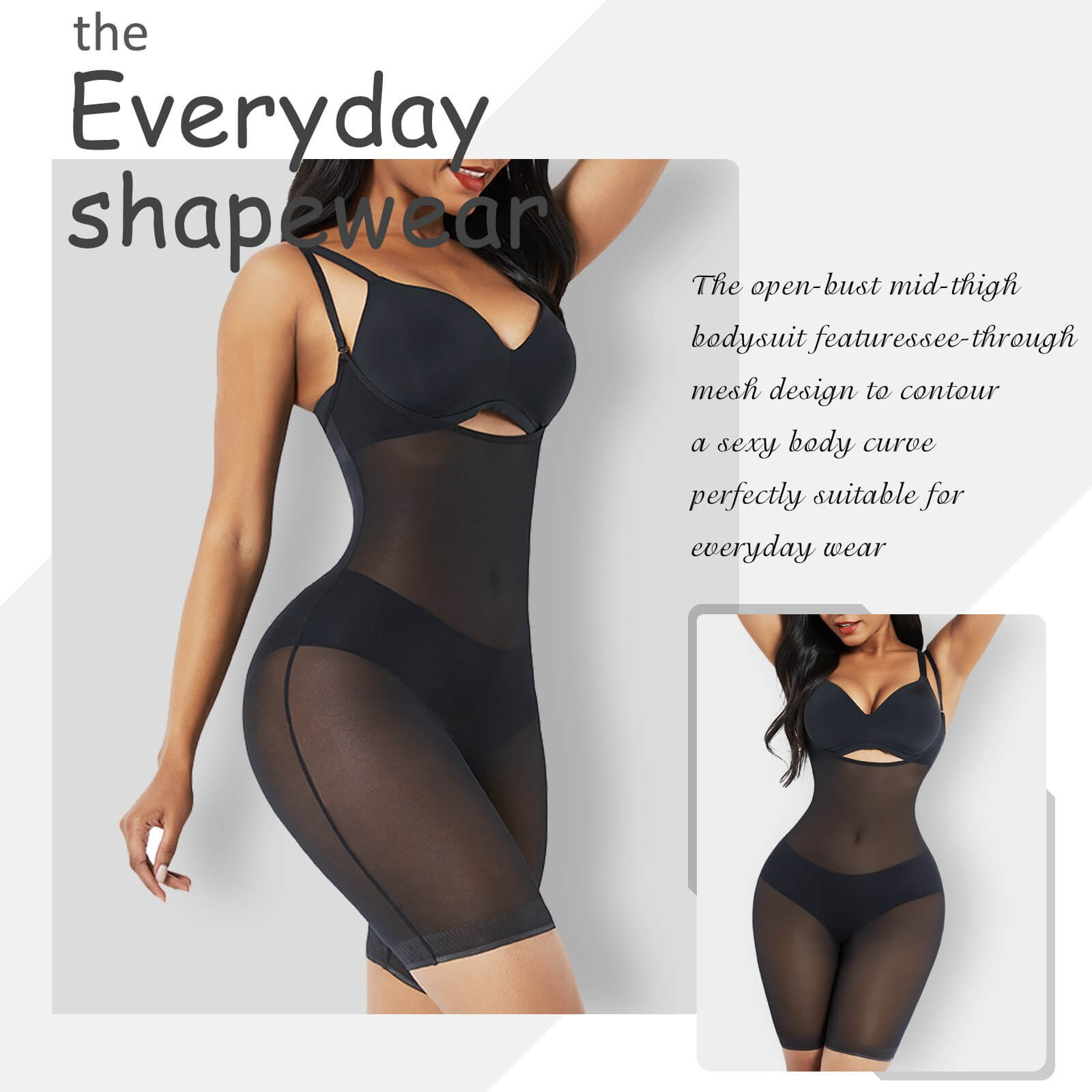 AirSlim™ Power Mesh Invisible Open Bust Mid Thigh