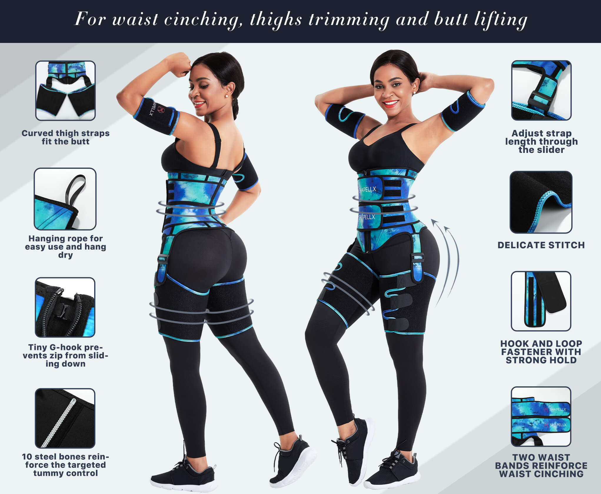 NeoSweat™ Tie Dye Waist and Thigh Trimmer Butt Lifter With Arm Trimmer