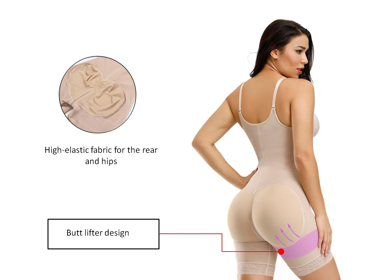 Shapellx Adjustable Strap Zipper Crotch Body Shaper