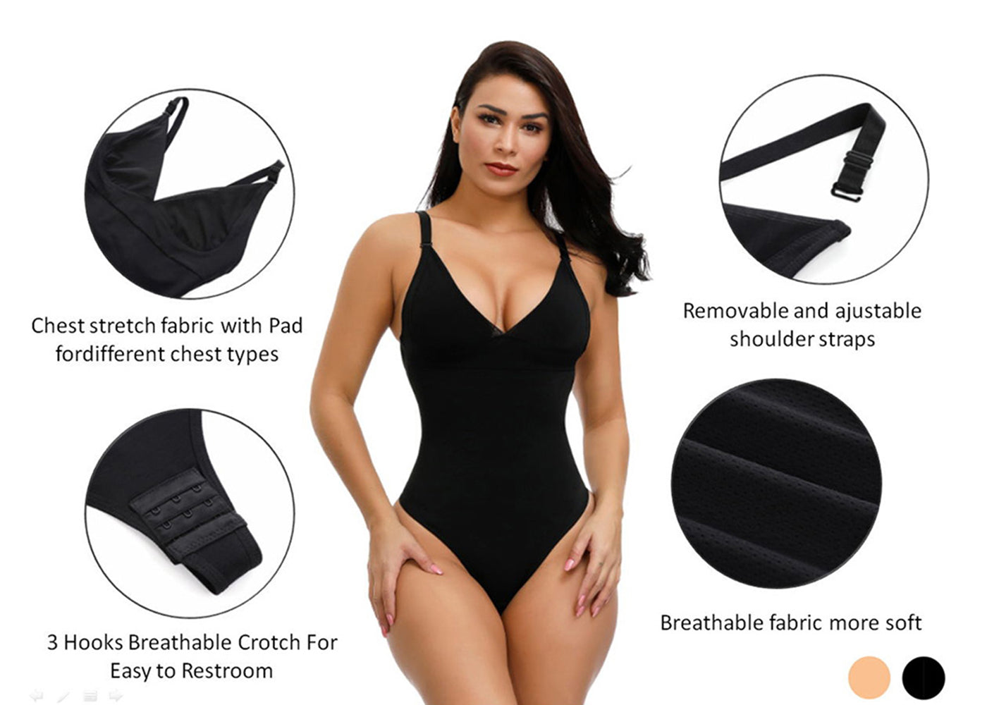 Shapellx Adjustable Straps Tummy Control Thong Bodysuit Shapewear