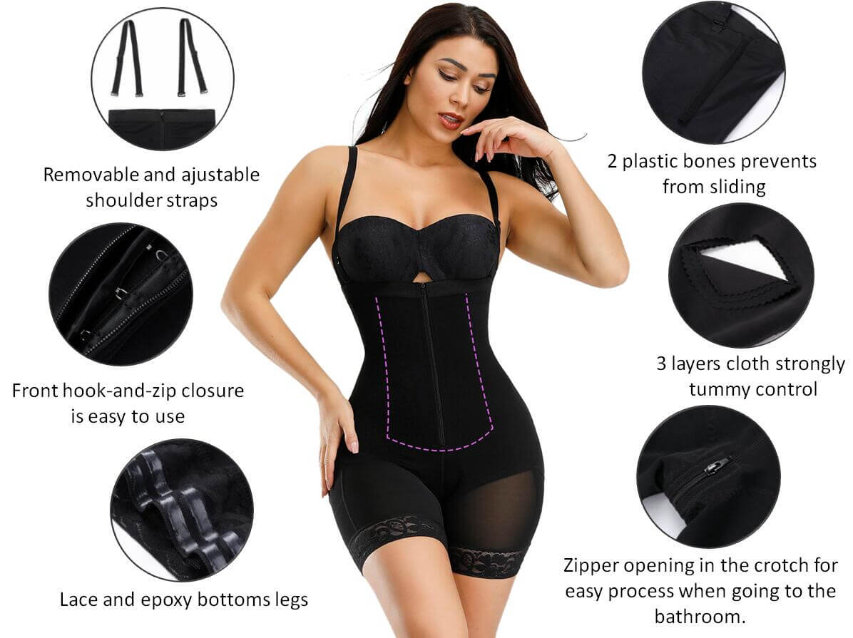 Shapellx Detachable Straps Full Body Shaper Zipper Abdominal Control