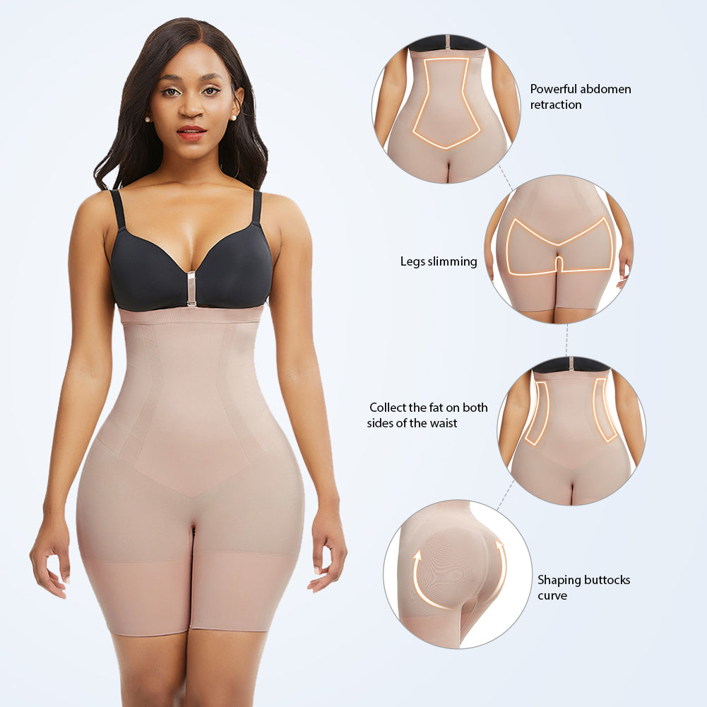 Loverbeauty Lycra High-Waisted Mid-Thigh Shape Short