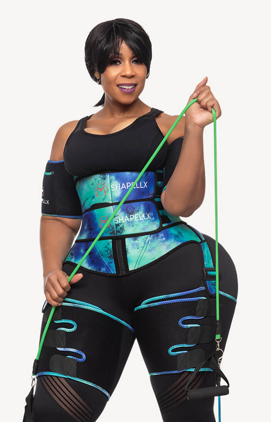 waist and thigh trainer tie dye workout sets