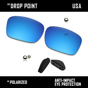 Anti Scratch Polarized Replacement Lens & Nose Pads for-Oakley Drop Point OO9367